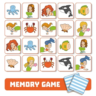 Vector memory game for children, cards with mermaids and fishes