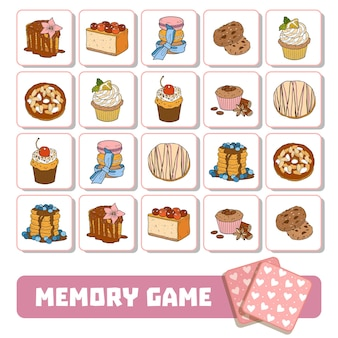 Vector memory game for children, cards with sweets and cakes