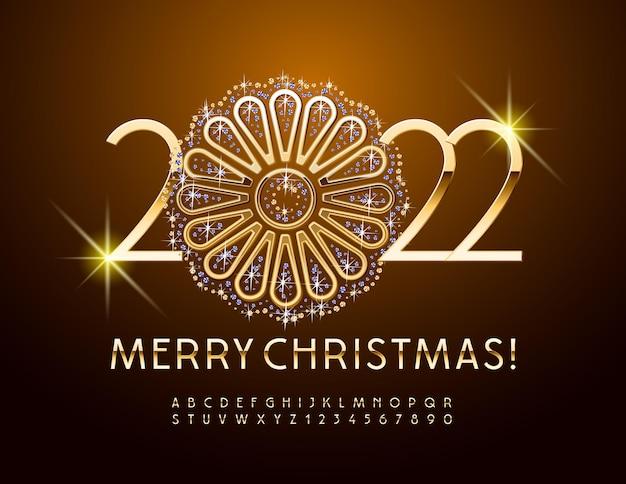Вектор счастливого рождества 2022 года с декоративным золотом и блестящим цветком золотой роскошный алфавит