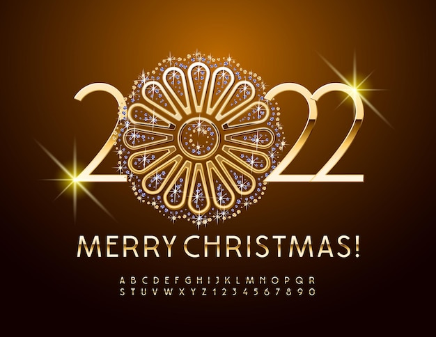 Vector merry christmas 2022 with decorative gold and brilliant flower golden luxury alphabet