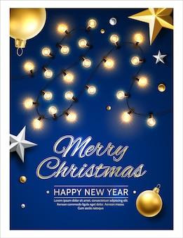 ベクトルメリークリスマスと星の花輪と新年あけましておめでとうございますポスター