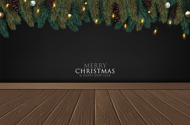 Vector merry christmas and happy new year greeting card label decorated
