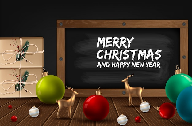 Vector merry christmas and happy new year greeting card