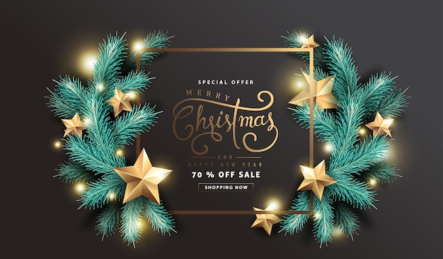Vector merry christmas and happy new year sale background