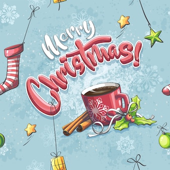 Vector merry christmas illustration seamless with a cup of coffee, sock, gift, star, ball