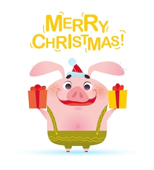 Vector merry christmas illustration with cute smiling little pig character in santa hat holding gift box in flat cartoon style isolated on white background. symbol of new year & xmas holidays.