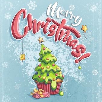 Векторная иллюстрация счастливого рождества с подарком под деревом