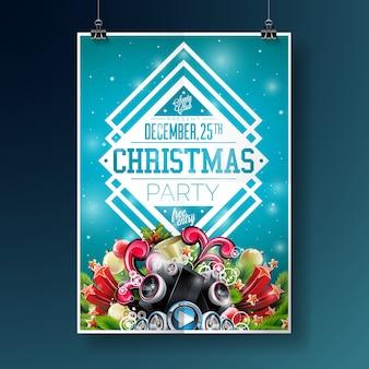 青色の背景にタイポグラフィーと休日の要素とベクトルメリークリスマスパーティーフライヤーイラスト。招待ポスターテンプレート。