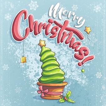 Вектор счастливого рождества с елками, подарок, звезда