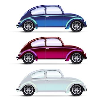 Векторная сетка реалистичные разноцветные старые автомобили на белом