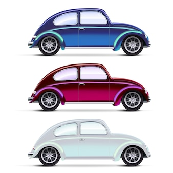 Vector mesh realistic multicolored old cars on white