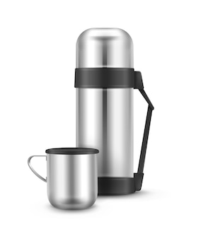 Vector metal closed travel thermos flask with mug front view isolated on white background