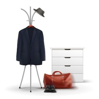 白い背景で隔離の帽子、コート、靴、バッグの正面図とベクトル金属服ラックと白いワードローブ