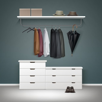 Vector metal clothes rack, white drawers and shelf with boxes, jacket, coat, shirts, hats black umbrella, shoes front view