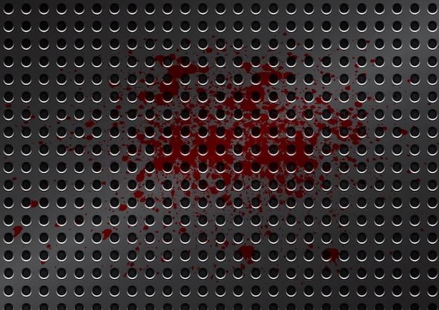 Vector metal grid with splatter red color background