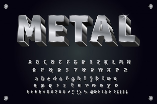 Vector metal typeface 3d bold typography