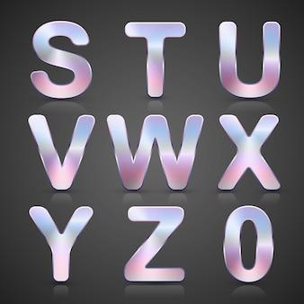 Vector metallic silver alphabet set.