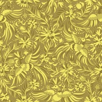 ベクトルメキシコ刺繡ゴールドシームレスパターン