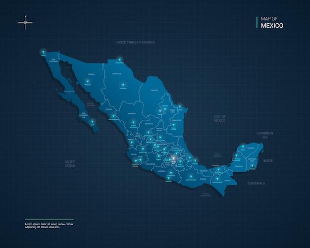 Векторная иллюстрация карта мексики с синими неоновыми световыми точками
