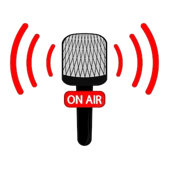 Vector microphone flat icon. online news, radio broadcasting. on air. vector