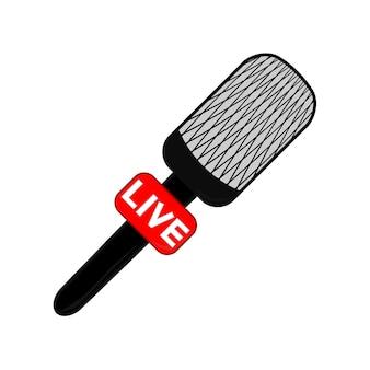 Плоский значок микрофона вектора. новости онлайн, радиовещание. в эфире. вектор
