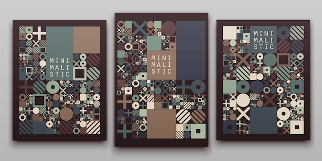 Vector minimal covers procedural design. journal or book cover template.
