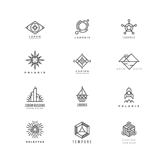 Vector minimal geometric vintage labels set