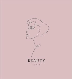 Вектор минималистский линейный женщина иллюстрация абстрактный непрерывный рисунок линии лицо современная одна линия