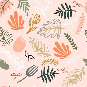 Vector minimalist naive plants. seamless pattern.