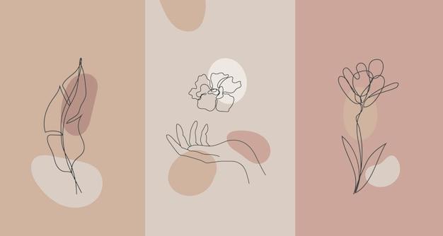 벡터 미니멀한 스타일의 식물, 손. 라인 플라워, 누드 컬러. 손으로 그린 추상 인쇄. 소셜 미디어 스토리 월페이퍼, 뷰티 로고, 포스터 일러스트레이션, 카드, 티셔츠 인쇄에 사용
