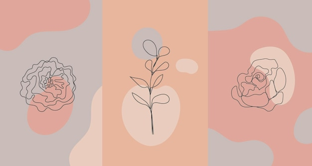 벡터 미니멀한 스타일의 식물, 장미. 라인 플라워, 누드 컬러. 손으로 그린 추상 인쇄. 소셜 미디어 스토리 월페이퍼, 뷰티 로고, 포스터 일러스트레이션, 카드, 티셔츠 인쇄에 사용