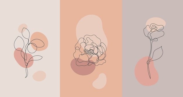 Vector minimalist style plants, rose. line flower, nude colors. hand drawn abstract print. use for social media stories wallpapers, beauty logos, poster illustration, card, t-shirt print