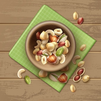 Vector mix of different nuts in wooden bowl whole and half hazelnut, pistachio, peanuts, cashew on table with green checkered napkin