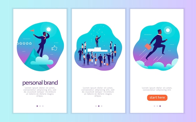 Vector mobile app interface concept design with man's personal brand theme. victory metaphor for successful businessman. landing page, ui site template design. web banner, mobile app illustration.