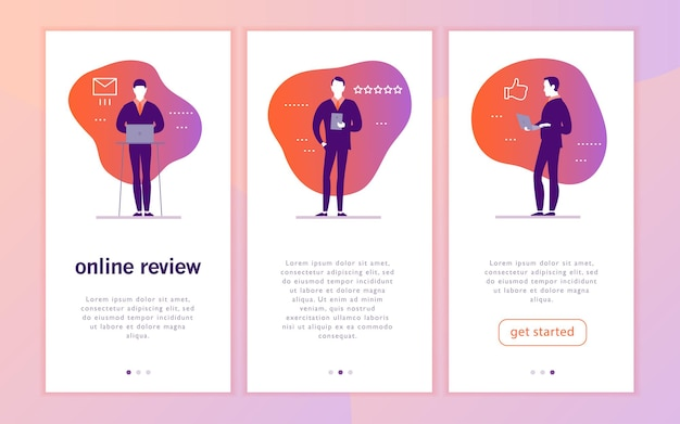 Vector mobile app interface concept design with online review theme office people with gadget  laptop tablet  give a star rating thumb up stars line icons landing page ui site template design