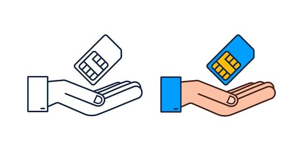 손에 벡터 모바일 휴대 전화 sim 카드입니다. 칩 흰색 배경에 고립입니다.