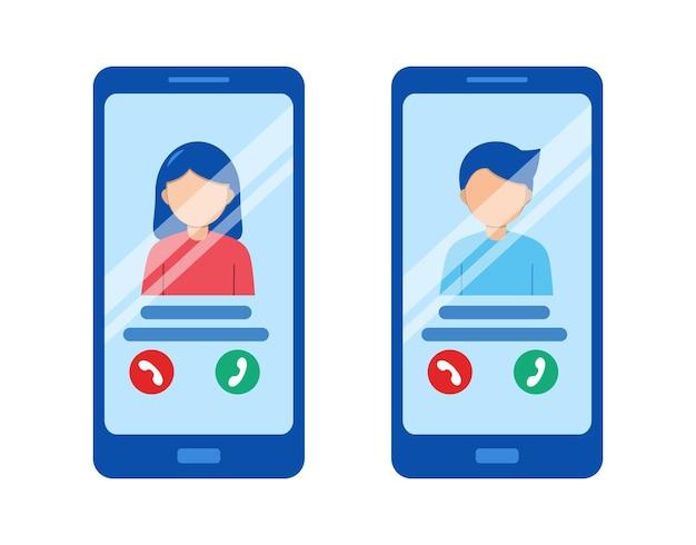 화면에 휴대 전화 통화 버튼과 아바타를 호출하는 벡터 휴대 전화