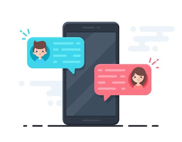 남자와 여자 온라인 채팅 개념 사이의 메시지 거품 벡터 휴대 전화