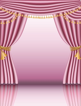 Vector mock up for baby girl shower, blank framed with beautiful baroque curtains.