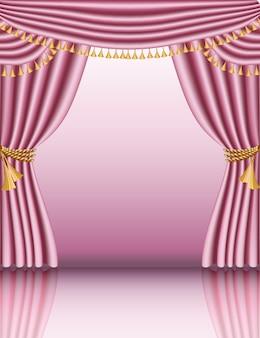 Вектор макет для душа девочки, бланк в рамке с красивыми барочными шторами.