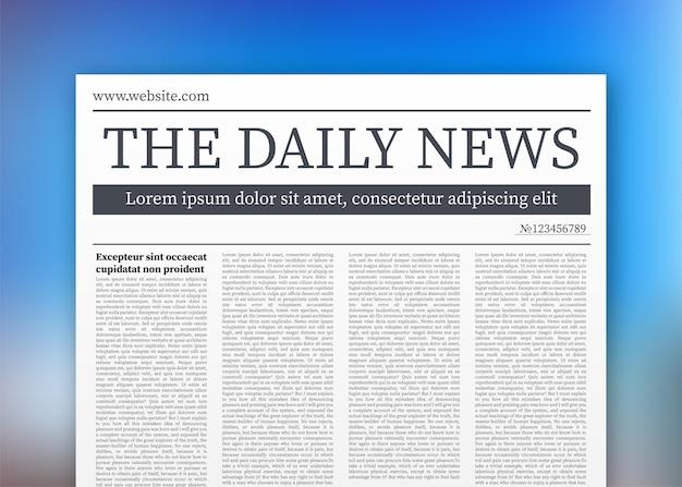 空白の日刊紙のベクトルモックアップ。クリッピングマスクで完全に編集可能な新聞全体。ベクトルストックイラスト、