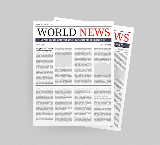空白の日刊新聞のモックアップベクトル。