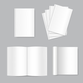 Vector mock up of white blank books.