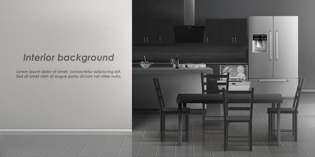 Вектор макет интерьера кухни с бытовой техникой, холодильник, посудомоечная машина с посудой