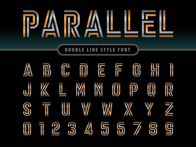 Vector of modern alphabet letters and numbers