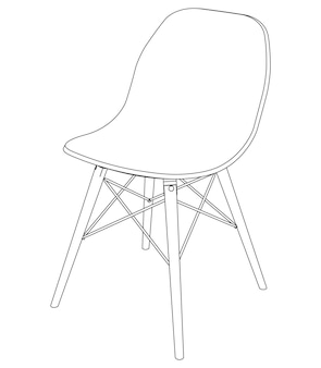 Vector modern chair with plastic seat