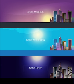 Vector modern city landscape vector background for web design.  city skyline illustration.  horizontal urban landscape.