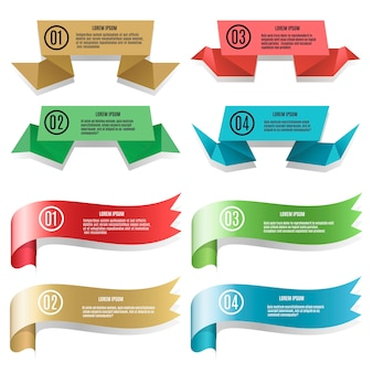 Vector modern colored ribbons and banners with text isolated on white background