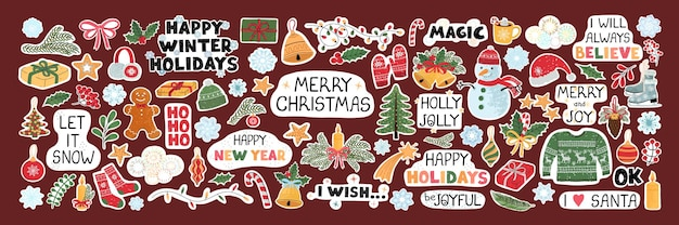 Vector modern colorful set with hand drawn doodle illustrations of christmas objects and lettering, stickers. use it as elements for design greeting cards , poster, card, packaging paper design