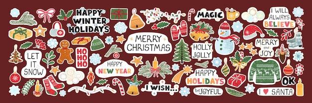 クリスマスオブジェクトとレタリング、ステッカーの手描き落書きイラストでモダンなカラフルなセットをベクトルします。デザイングリーティングカード、ポスター、カード、包装紙デザインの要素として使用してください